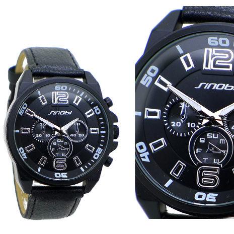 仿三眼裝飾設計  大錶面 F1賽車儀表板 運動風  時尚男錶/皮革錶 《好時光》SINOBI