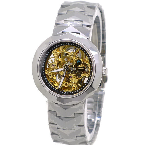 Valentino 范倫鐵諾 全鎢鋼金色雕花機芯雙面鏤空自動機械錶-水晶鏡面-刻度款《好時光》