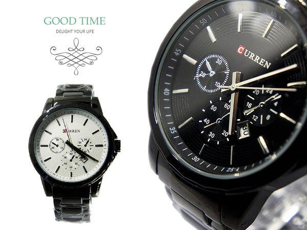 CURREN 仿三眼設計 運動錶 儀表版風格(真日期窗) 型男 個性 黑鋼款 男錶 《好時光》