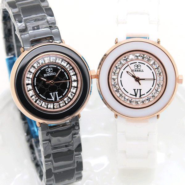《好時光》BURRELL 貝瑞爾 美麗時光 玫瑰金 方形晶鑽 高精密陶瓷錶 -水晶鏡面  黑 白