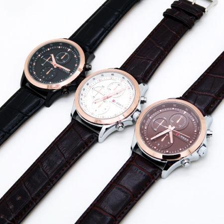 CURREN 玫瑰金 仿三眼  立體層次感錶盤  型男 個性 品味 時尚男錶-皮革錶帶 《好時光》
