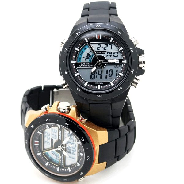 《好時光》SKMEI 前衛潮流  個性型男  防水 雙顯示 電子錶/男錶/運動錶  黑 金