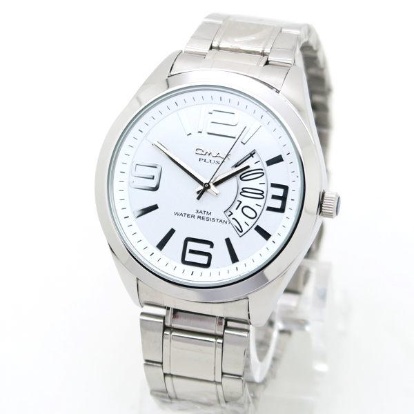 《好時光》OMAX PLUS+  大錶面 大數字 扇形日期窗 霸氣型男 不鏽鋼時尚男錶 - 白面