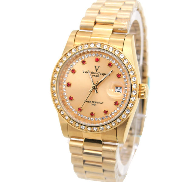 《好時光》Valentino Coupeau 范倫鐵諾 金色紅寶石晶鑽框時尚男錶/女錶