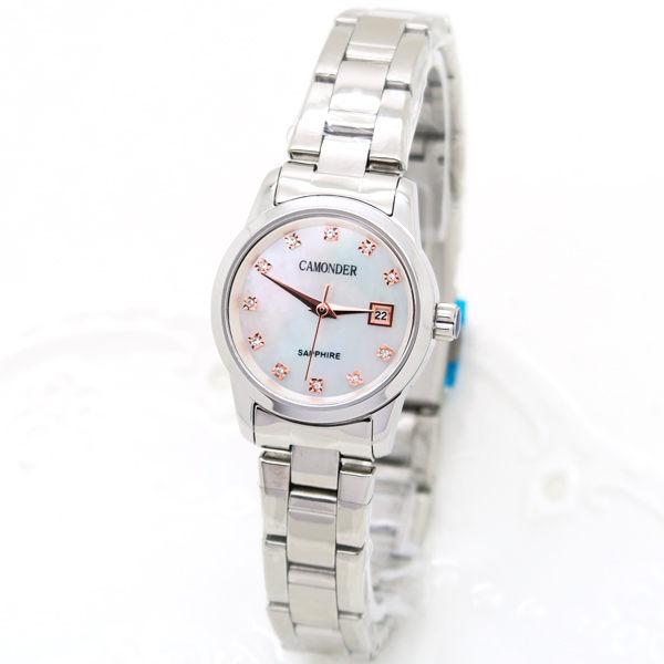 《好時光》CAMONDER 卡蒙迪 小錶徑 玫瑰金晶鑽時刻 珍珠貝 日期 不鏽鋼女錶 水晶鏡面 粉 白-單支