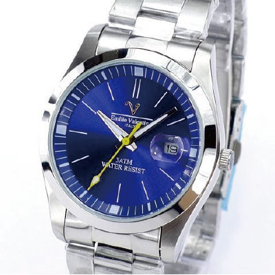 《好時光》Emilio Valentino 范倫鐵諾 經典都會大面徑(日期窗)不鏽鋼時尚男錶-深海藍色