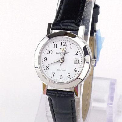 《好時光》Emilio Valentino 范倫鐵諾  薄型經典清晰數字時尚女錶-白(日期窗) 水晶鏡面