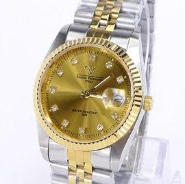 《好時光》Emilio Valentino 范倫鐵諾 Vatal-ion 黃金鈦 中金晶鑽時刻(日期)時尚男錶-水晶鏡面