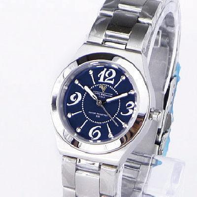 《好時光》Emilio Valentino 范倫鐵諾晶鑽時光3.6.9.12大數字不鏽鋼時尚女錶-深藍色