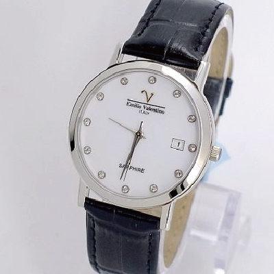 《好時光》Emilio Valentino 范倫鐵諾 薄型晶鑽永恆時光(日期窗)時尚男錶-水晶鏡面-白色
