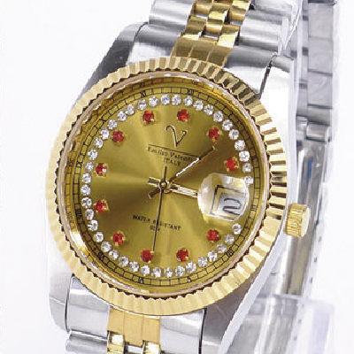 《好時光》Emilio Valentino 范倫鐵諾  Vatal-ion 黃金鈦 中金紅寶石晶鑽時刻(日期)時尚男錶-水晶鏡面