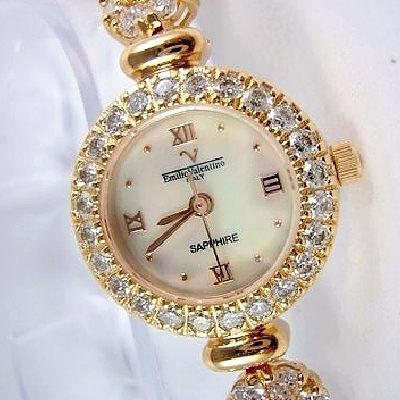 《好時光》Emilio Valentino 范倫鐵諾 時尚奢華珍珠貝閃耀水晶鑽錶-玫瑰金色(圓-花朵鍊)