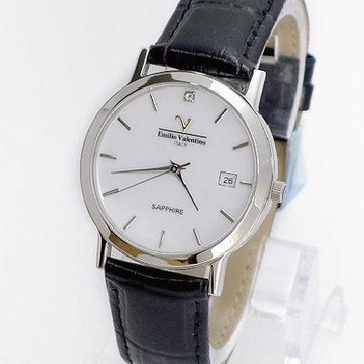 《好時光》Emilio Valentino 范倫鐵諾 薄型簡約刻度(日期窗)水晶鏡面時尚男錶-白色