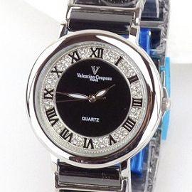 《好時光》Valentino 范倫鐵諾 圓形經典羅馬時刻滿天星鑽陶瓷時尚男錶-黑面黑錶帶