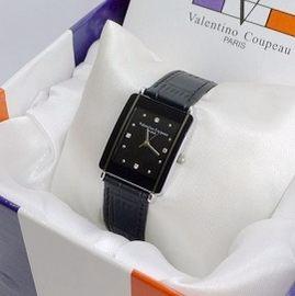 《好時光》Valentino 范倫鐵諾 長方形陶瓷造型+真皮錶帶時尚女錶-黑色