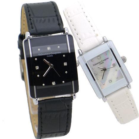 《好時光》Valentino 范倫鐵諾 長方形陶瓷造型+真皮錶帶時尚情人對錶-黑色+白色搭配