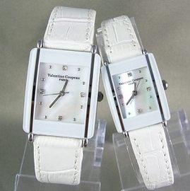 《好時光》Valentino 范倫鐵諾 長方形陶瓷造型+真皮錶帶時尚情人對錶-白色珍珠貝面
