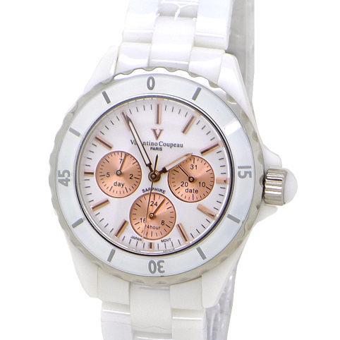 《好時光》 Valentino 范倫鐵諾 高精密全陶瓷 三眼(日期/星期/24小時)時尚男錶/女錶-水晶鏡面-白色