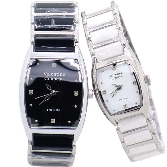 《好時光》Valentino 范倫鐵諾 酒桶型簡約晶鑽陶瓷時尚情人對錶-黑色/白色
