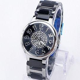 《好時光》Valentino 范倫鐵諾 滿天星鑽清晰數字切割鏡面陶瓷時尚女錶-黑色-圓