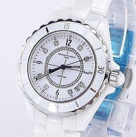 《好時光》Valentino 范倫鐵諾 白色高精密全陶瓷水鑽時刻(日期窗)時尚男錶-藍寶石水晶鏡面