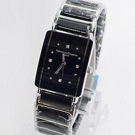 《好時光》Valentino 范倫鐵諾 長方型經典陶瓷時尚男錶-黑色