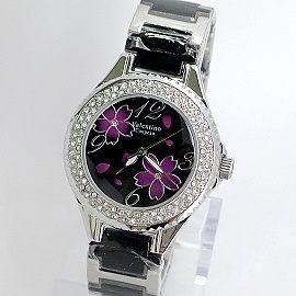 《好時光》Valentino 范倫鐵諾 櫻花綻放晶鑽框陶瓷時尚女錶 -黑色