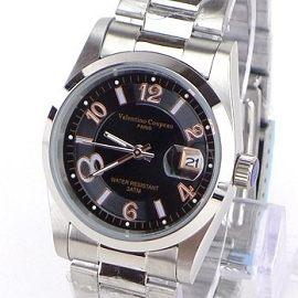 《好時光》Valentino 范倫鐵諾 黑面數字款經典風格(日期窗)時尚男錶-玫金數字