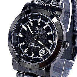《好時光》Valentino 范倫鐵諾 瑞士原裝微型氚氣燈管自體發光不鏽鋼時尚男錶-水晶鏡面-黑面黑帶