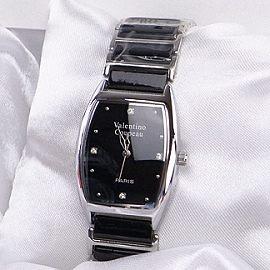 《好時光》Valentino 范倫鐵諾 酒桶型簡約晶鑽陶瓷時尚女錶-黑色