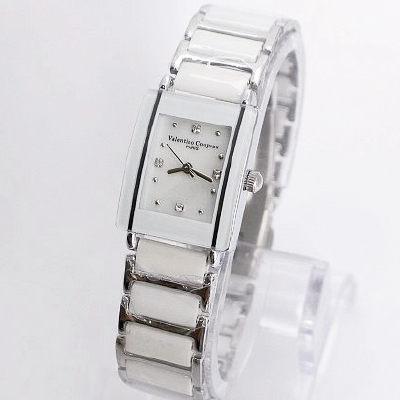 《好時光》Valentino 范倫鐵諾 長方型經典陶瓷時尚女錶-白色