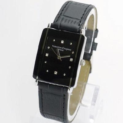 《好時光》Valentino 范倫鐵諾 長方形陶瓷造型+真皮錶帶時尚男錶-黑色
