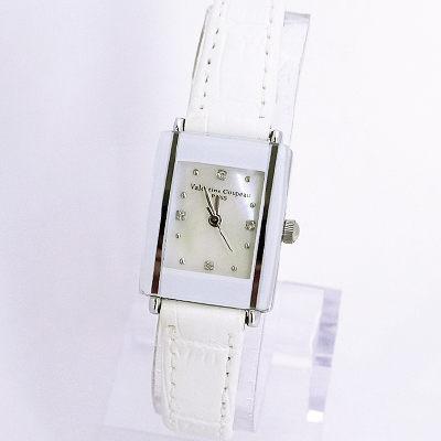 《好時光》Valentino 范倫鐵諾 長方形陶瓷造型+真皮錶帶時尚女錶-白色