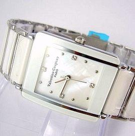 《好時光》Valentino 范倫鐵諾 長方型經典陶瓷時尚男錶-白色
