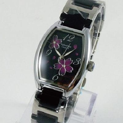 《好時光》Valentino 范倫鐵諾 酒桶型繽紛櫻花陶瓷時尚女錶-黑色