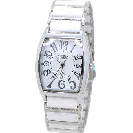 《好時光》Valentino 范倫鐵諾 酒桶型清晰數字陶瓷時尚女錶-白色