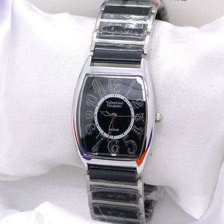 《好時光》Valentino 范倫鐵諾 酒桶型清晰數字陶瓷時尚女錶-黑色