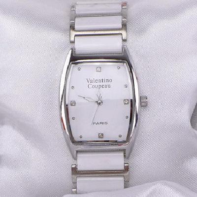 《好時光》Valentino 范倫鐵諾 酒桶型簡約晶鑽陶瓷時尚女錶-白色