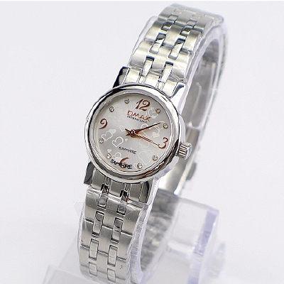 《好時光》OMAX 歐瑪士 愛戀之心3.6.9.12 水鑽時刻時尚女錶-銀白-水晶鏡面