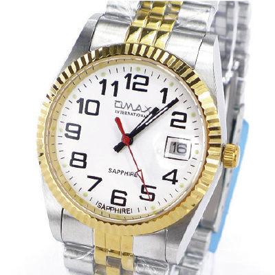 《好時光》OMAX 毆瑪士 中金款清晰數字(日期窗)時尚男錶-藍寶石水晶鏡面