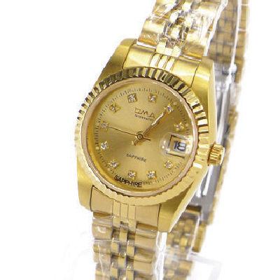 《好時光》OMAX 歐瑪士 金色水鑽時刻(日期窗)時尚女錶-藍寶石水晶鏡面