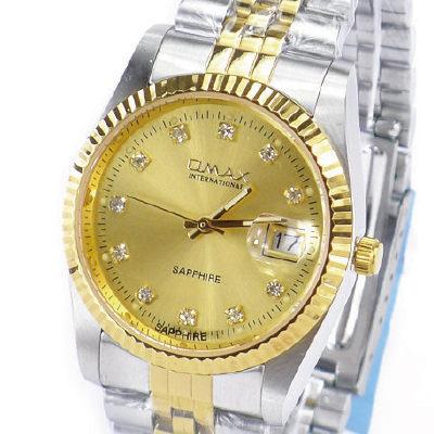 《好時光》OMAX 歐瑪士 中金款水鑽時刻(日期窗)時尚男錶-藍寶石水晶鏡面
