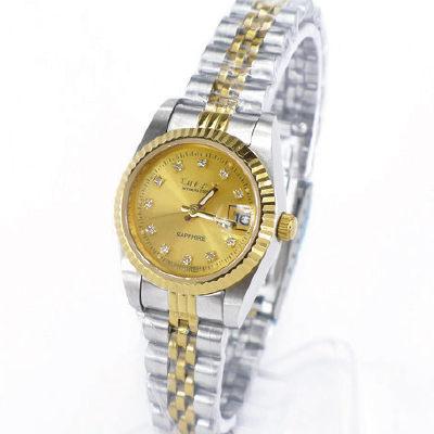 《好時光》OMAX 歐瑪士 中金款水鑽時刻(日期窗)時尚女錶-藍寶石水晶鏡面