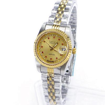 《好時光》OMAX 歐瑪士中金款紅寶石晶鑽時刻(日期窗)時尚女錶-藍寶石水晶鏡面