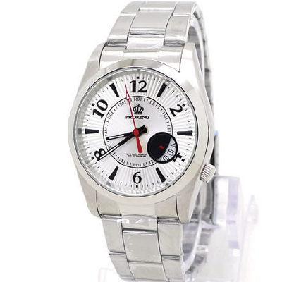 《好時光》PROKING 皇冠 立體放射紋 數字 月圓造型日期窗 不鏽鋼時尚男錶/女錶-銀白-單支