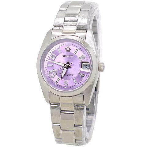 《好時光》PROKING 皇冠 大8數字 (日期窗) 時尚女錶-粉橘/紫