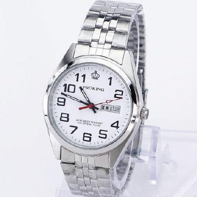 《好時光》PROKING 皇冠 經典清晰數字(日期/星期)不鏽鋼男錶-銀白