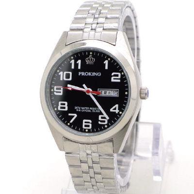 《好時光》PROKING 皇冠 經典清晰數字(日期/星期)不鏽鋼男錶-黑
