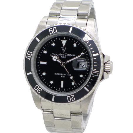 《好時光》Valentino Coupeau 范倫鐵諾 經典水鬼王 可旋轉框(日期窗)時尚男錶-黑