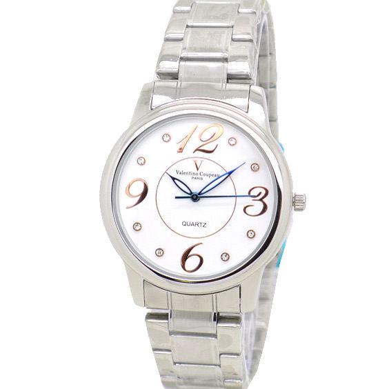 《好時光》Valentino Coupeau 范倫鐵諾 時尚晶鑽大數字不鏽鋼時尚男錶/女錶-白色+玫瑰金數字